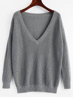 Tiefer Pullover Mit Tiefem Ausschnitt - Grau