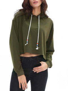 Drawstring Drop Shoulder Candy Color Crop Hoodie - Army Green S