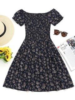 Robe Courte Florale Smockée à épaules Dénudées - Bleu Violet S