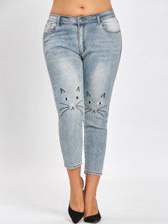 Plus Size Cat Face Light Wash Jeans - Blue Gray 5xl