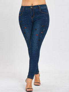 Plus Size Lips Embroidered Ripped Jeans - Denim Blue 5xl