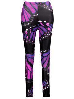 Plus Size Butterfly Leggings - Purple Xl