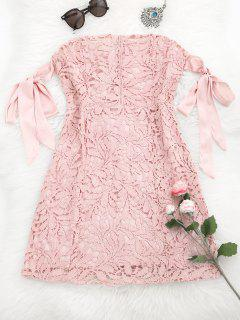 Bowknot Tube Lace Mini Dress - Pink M