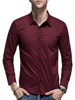 Slim Fit Curved Hem Long Sleeve Shirt - Wine Red 2xl