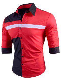 Slim Fit Color Block Long Sleeve Shirt - Red L
