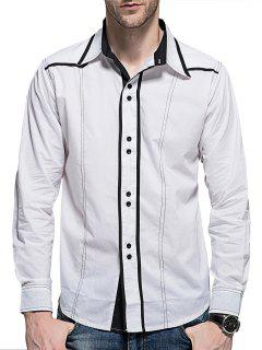 Curved Hem Button Long Sleeve Shirt - White M