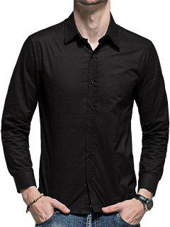 Slim Fit Curved Hem Long Sleeve Shirt - Black M