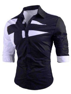 Turn-down Collar Two Tone Shirt - Black M