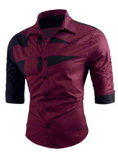 Turn-down Collar Two Tone Shirt - Red M