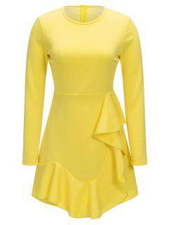 Vestido De Manga Larga De Una Línea De Volantes - Amarillo 2xl