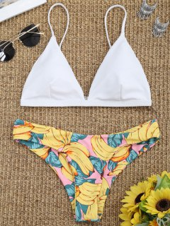 Padded Bikini Bra With Banana Print Bottoms - White S