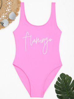 Low Back Graphic Flamingo High Cut Swimwear - Pink L
