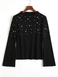 Suéter Acanalado De Las Perlas De La Falda Acampanada - Negro M