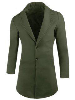 Manteau En Laine Mélangée à Col Tailleur Avec Poches - Vert Armée Xl