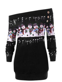 Christmas Plus Size Snowman Off The Shoulder Sweatshirt - Black 4xl