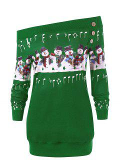 Christmas Plus Size Snowman Off The Shoulder Sweatshirt - Green 5xl