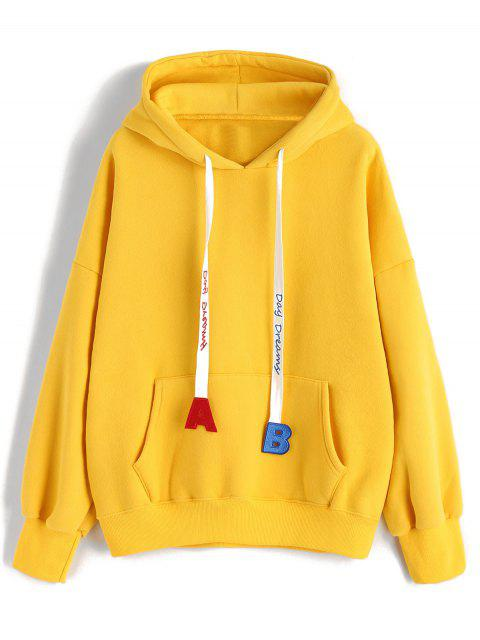 shop Drawstring Oversized Letter Embroidered Hoodie - YELLOW ONE SIZE Mobile