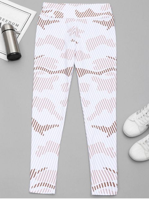 latest Striped Yoga Leggings - WHITE XL Mobile