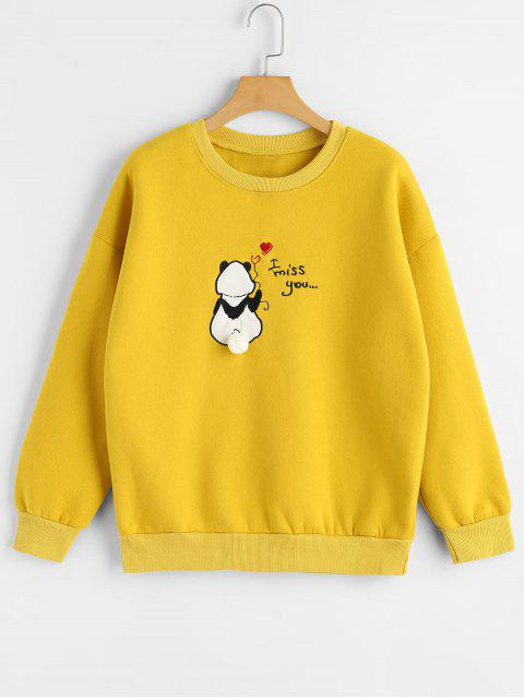 shops Pompoms Panda Embroidered Sweatshirt - YELLOW ONE SIZE Mobile