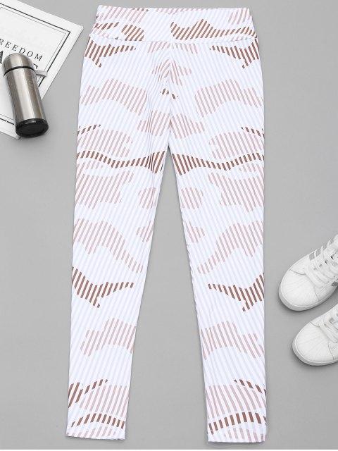 chic Striped Yoga Leggings - WHITE M Mobile