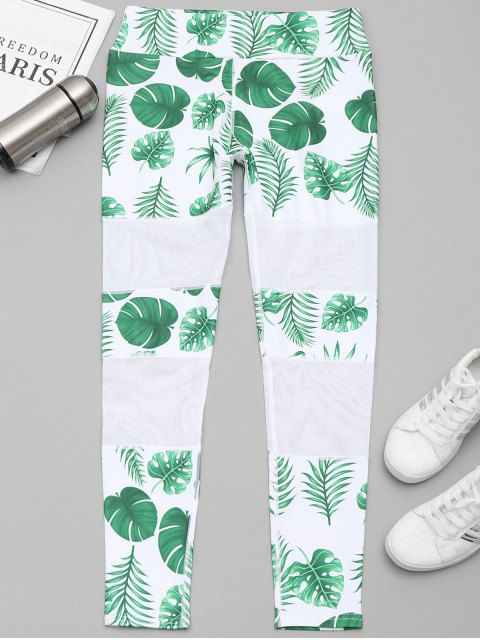 affordable Leaf Mesh Panel Workout Leggings - WHITE AND GREEN L Mobile