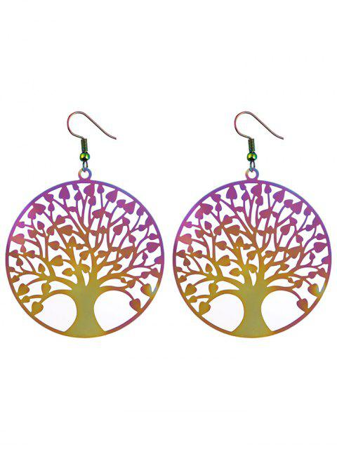 ladies Tree of Life Round Hook Earrings - COLORMIX  Mobile
