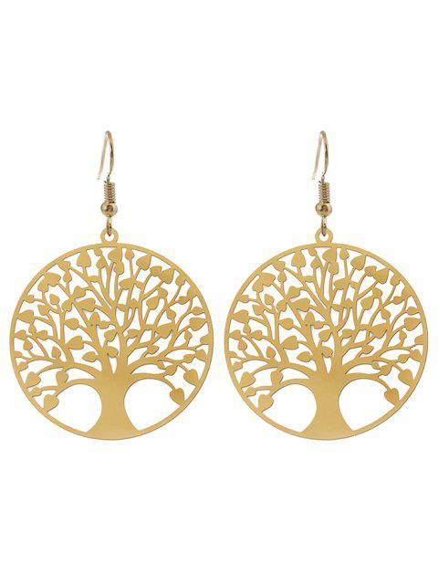 lady Tree of Life Round Hook Earrings - GOLDEN  Mobile