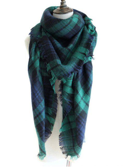 best Checked Pattern Decorated Faux Wool Shawl Scarf - DEEP GREEN  Mobile