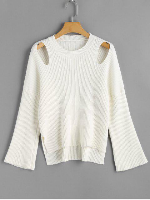 affordable Cut Out Ribbed High Low Sweater - WHITE ONE SIZE Mobile