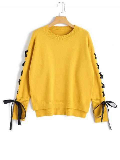 buy High Low Pullover Lace Up Sweater - YELLOW ONE SIZE Mobile