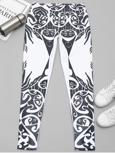 ladies Printed Yoga Leggings - WHITE AND BLACK L Mobile
