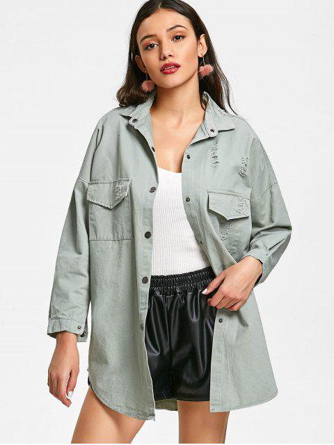 fancy Distressed Oversized Jacket - PEA GREEN L Mobile