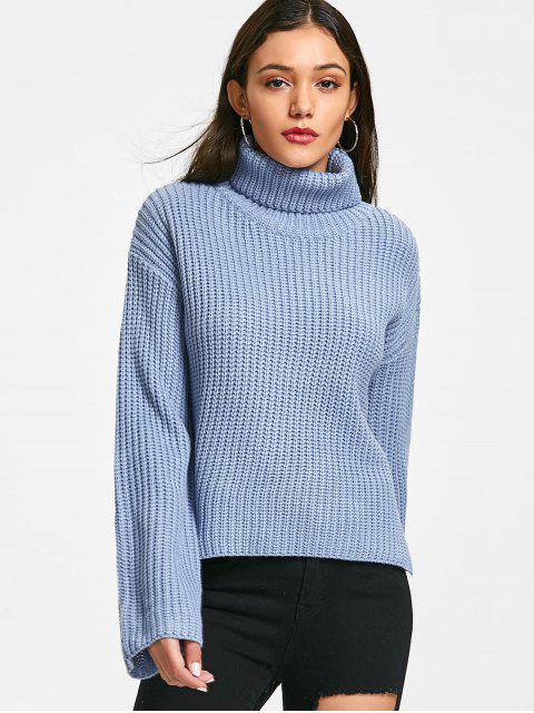 unique Chunky Turtleneck Sweater - BLUE ONE SIZE Mobile