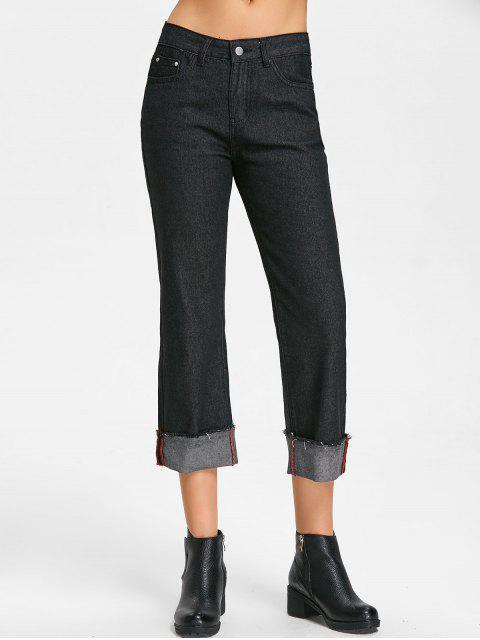 affordable Raw Hem Straight Jeans - BLACK S Mobile
