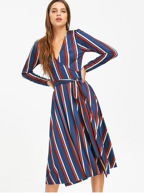chic Long Sleeve Wrap Stripes Midi Dress - BLUE L Mobile