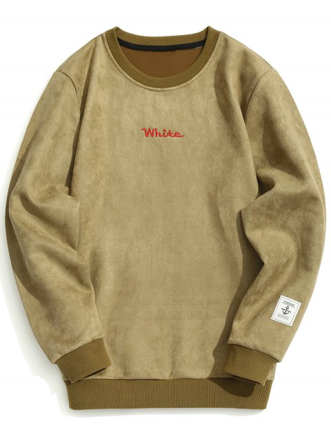 buy Letter Embroidered Suede Sweatshirt - KHAKI M Mobile