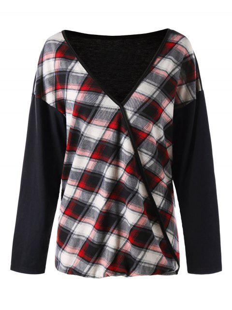 ladies Plus Size Plaid V Neck T-shirt - RED XL Mobile