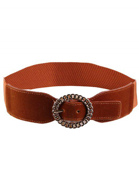 latest Hollow Out Round Shape Buckle Elastic Waist Belt - CHOCOLATE  Mobile