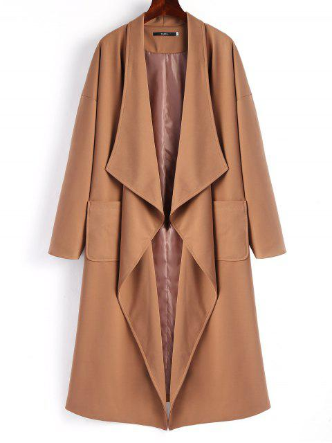 unique Belted Waterfall Trench Coat - DARK CAMEL L Mobile