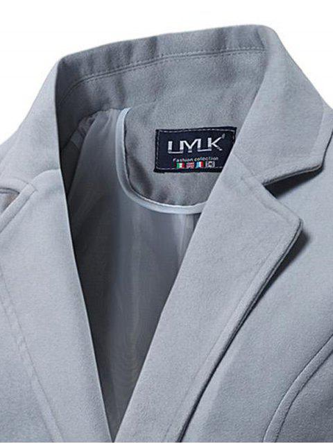 affordable Lapel Double Breasted Longline Woolen Coat - GRAY L Mobile