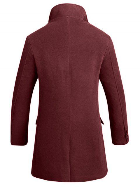 trendy Cover Placket Single Breasted Longline Woolen Coat - WINE RED L Mobile