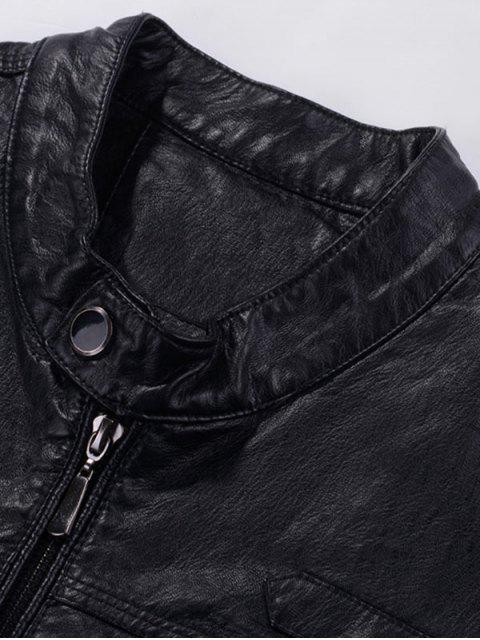 women Zipper Flocking Faux Leaather Jacket - PURPLISH BLUE XL Mobile