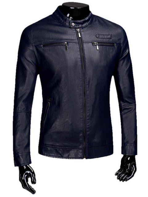 Reißverschluss Beflockung Faux Leaather Jacke - Schwarzblau L Mobile