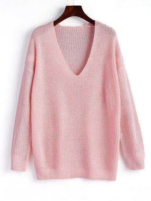 Pullover - Pullover mit V-Ausschnitt - Rosa Eine Größe Mobile