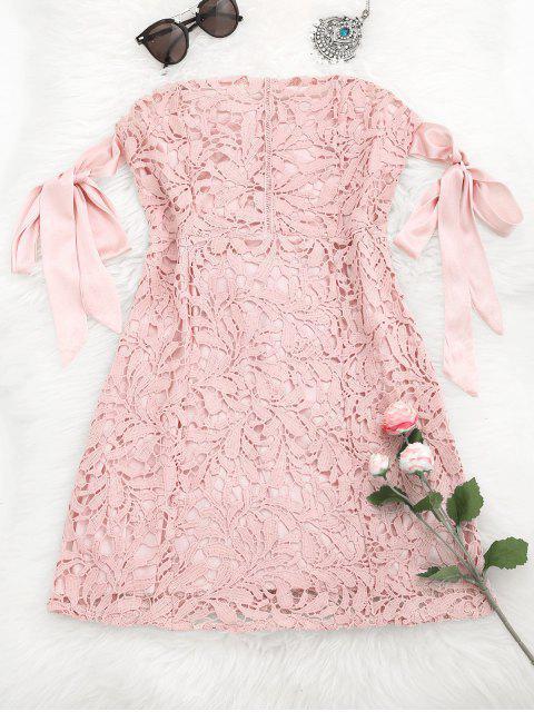 women Bowknot Tube Lace Mini Dress - PINK M Mobile