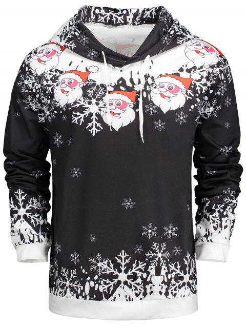 sale Christmas Santa Claus Drawstring Neck Hoodie - BLACK 2XL Mobile