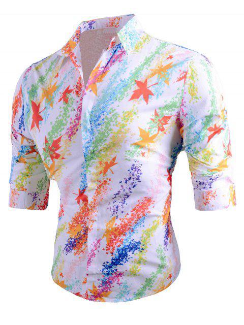Chemise Longues Manches à Revers Coloré et Imprimée de Feuilles - Blanc 2XL Mobile