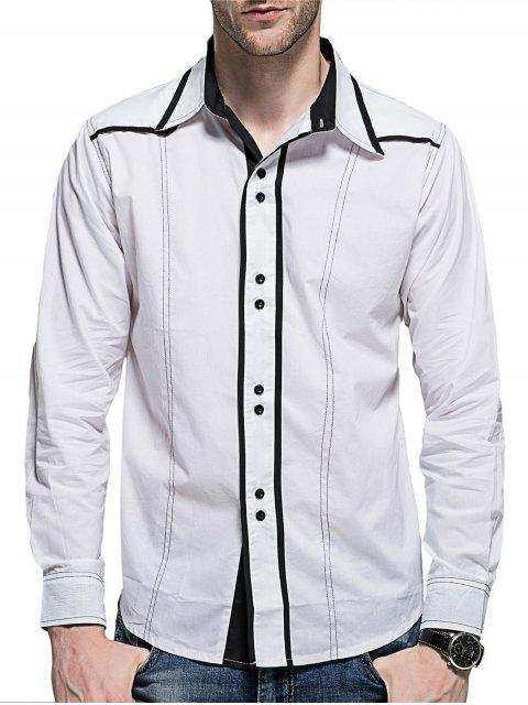 affordable Curved Hem Button Long Sleeve Shirt - WHITE L Mobile