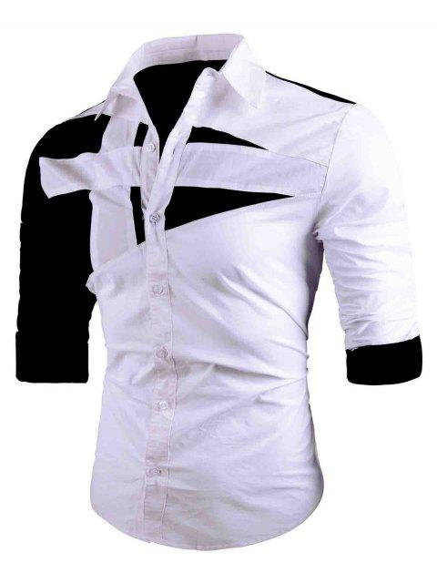 Camisa Turn-down de cuello dos tonos - Blanco M Mobile