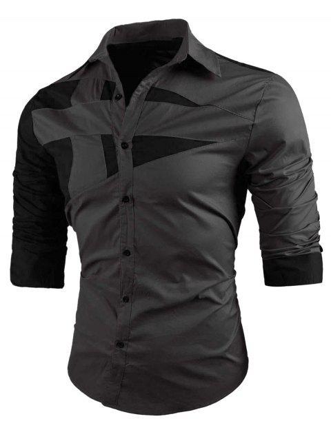 Camisa Turn-down de cuello dos tonos - Gris L Mobile